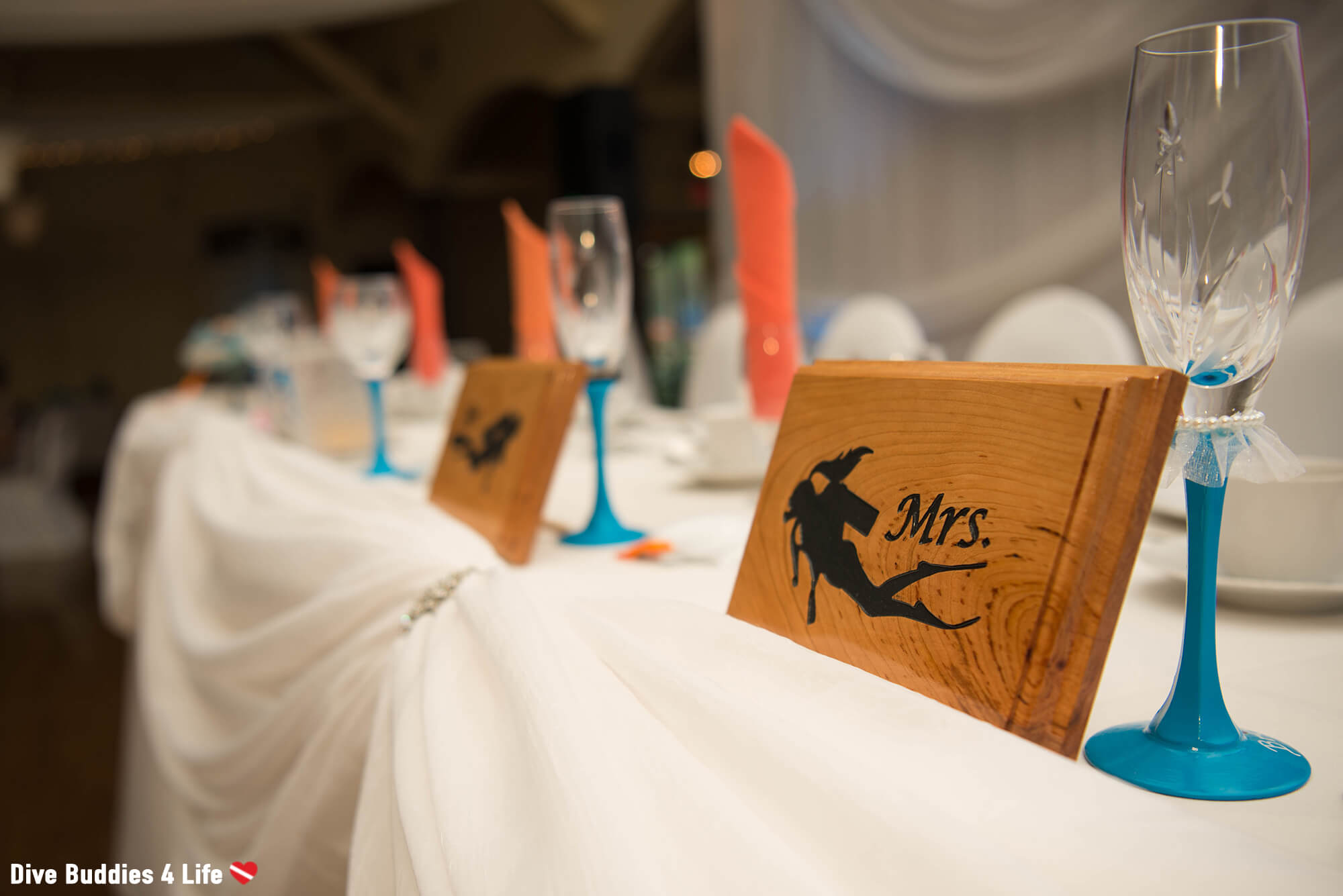 Mr And Mrs Scuba Diver Place Settings At An Ocean Themed Wedding