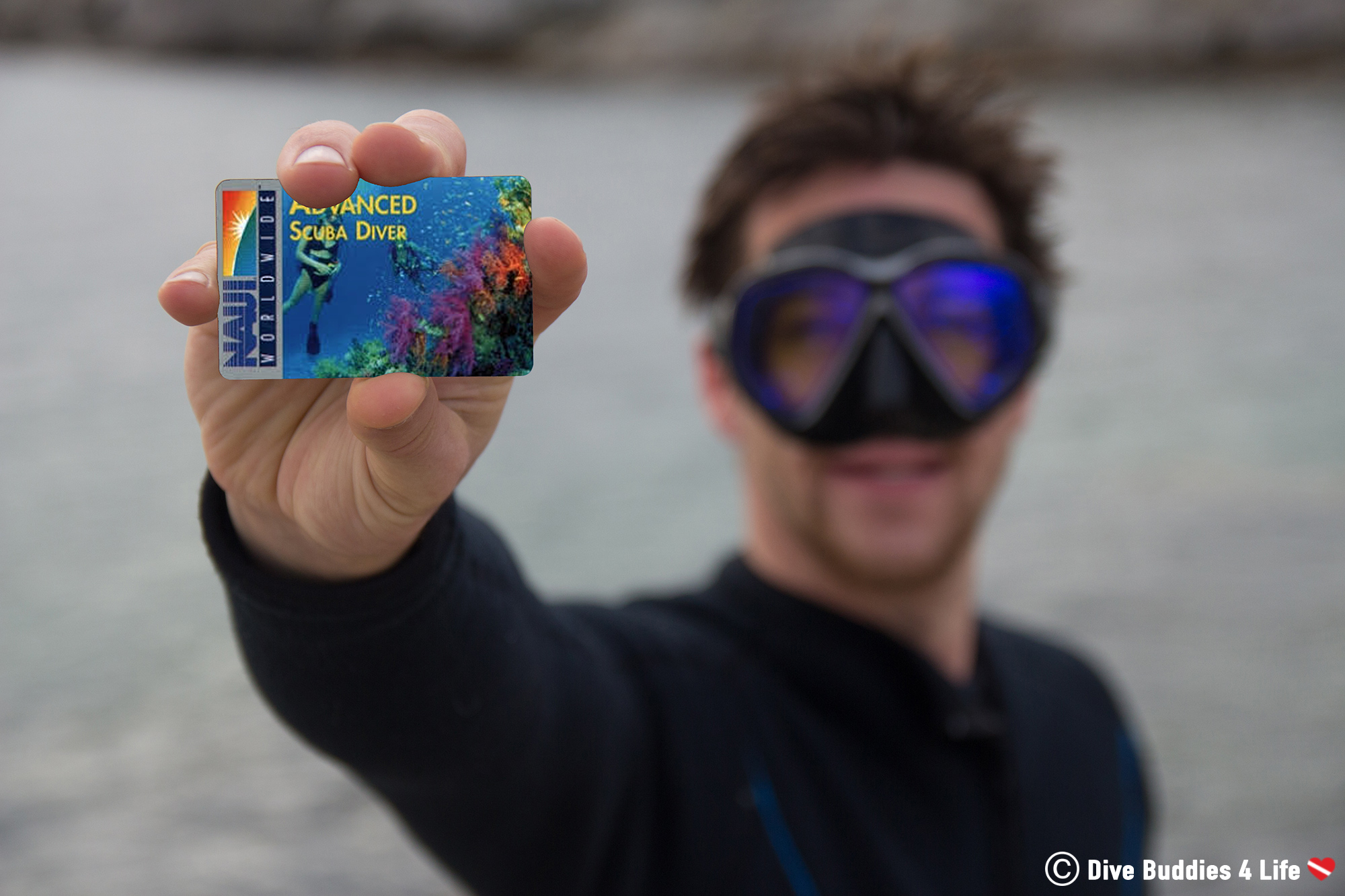 Joey with his NAUI Scuba Certification Card