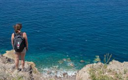 Nadine Looking Out At The Sea On Santorini