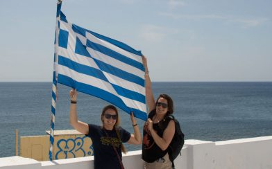 Nadine And Alisha With The Greek Flag