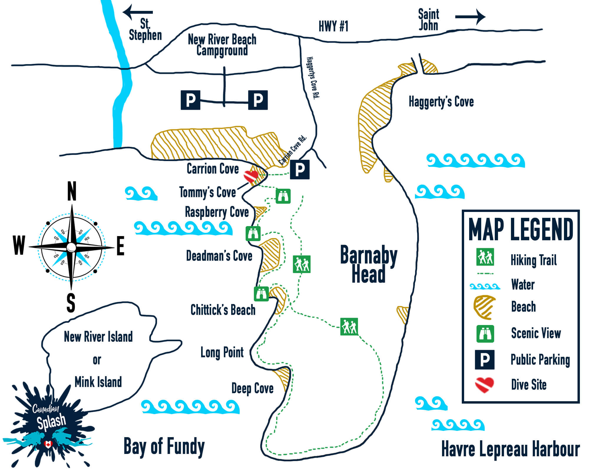 New River Beach Scuba Diving Map, Shore Diving Saint John New Brunswick, Canadian Splash