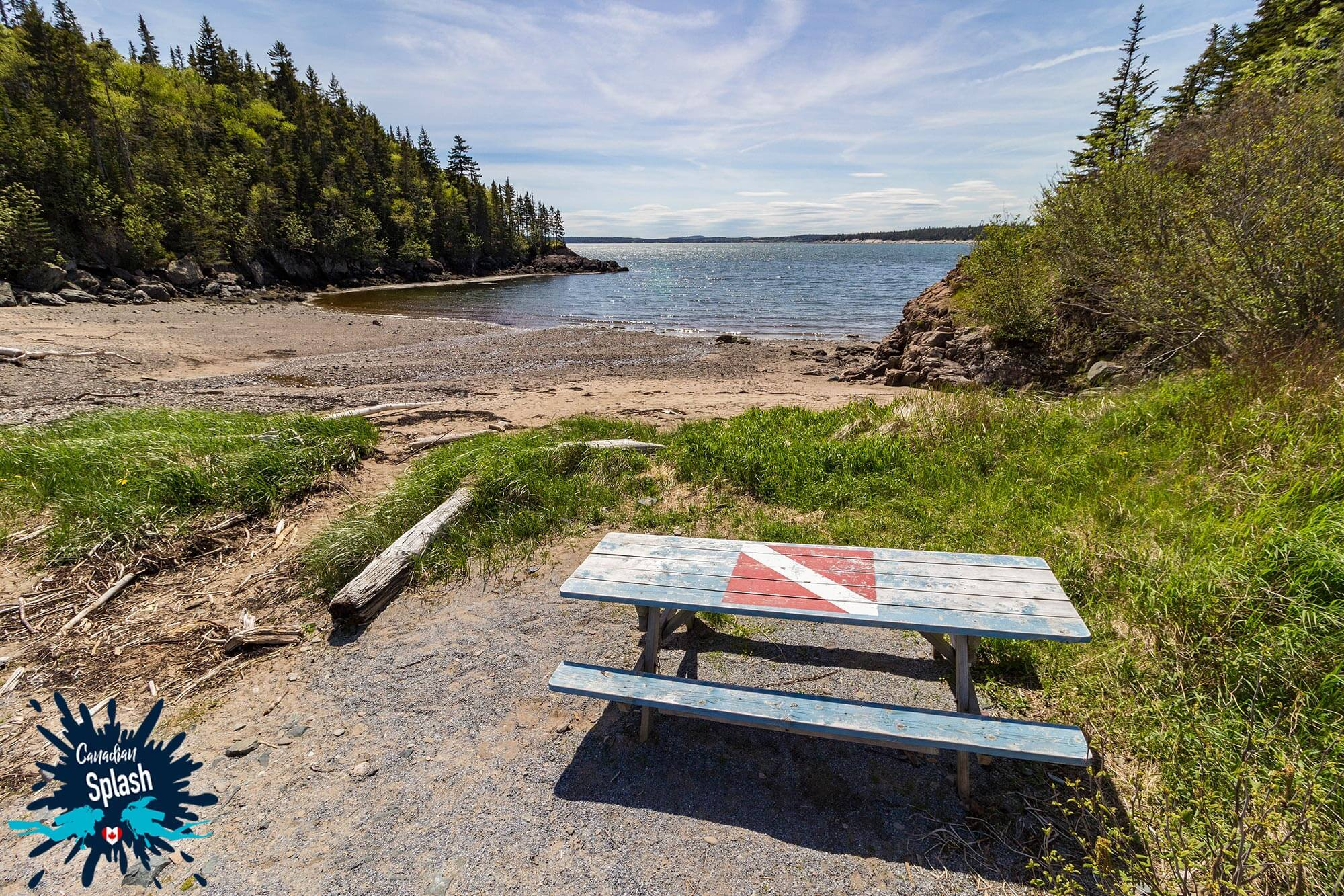 New River Beach Scuba Diving Site With Dive Picnic Table For Preparation, Saint John, New Brunswick, Canadian Splash