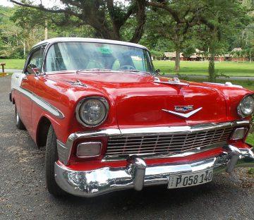 An Old Cuban Red Car