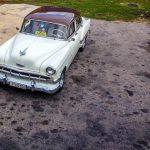 An Old White Cuban Car
