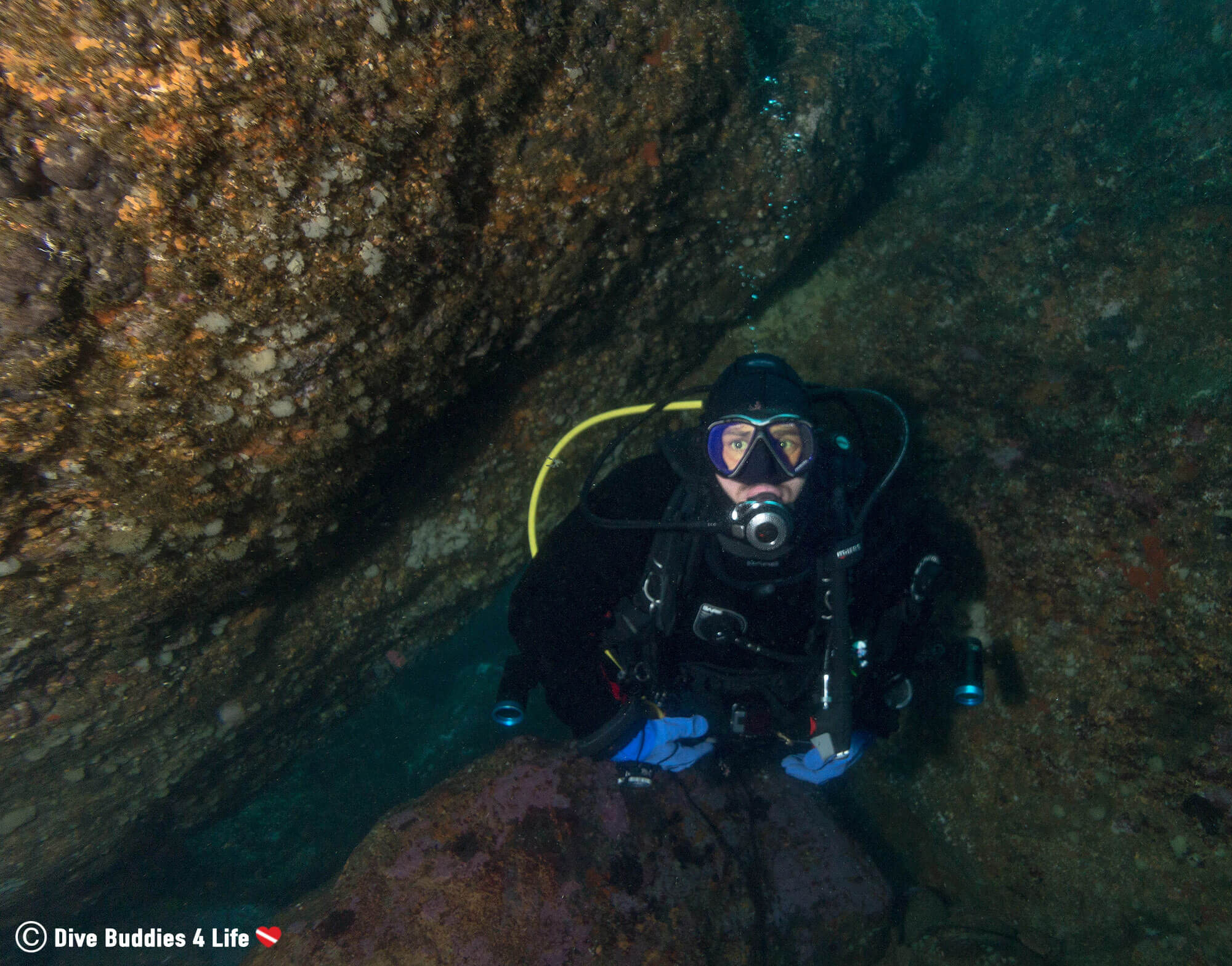 Joey Scuba Diving His Way Under a Boulder in Peniche, Portugal