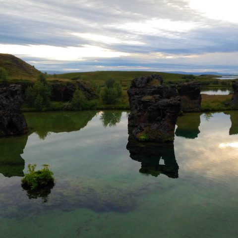 Pillars and the Water in Myvatn