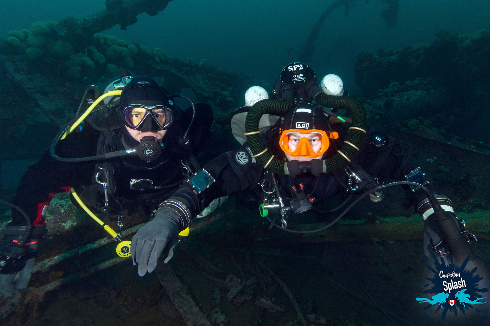 Rebreather Diver Mike And Scuba Diver Joey On The Lord Strathcona Shipwreck In Bell Island, Newfoundland, Canada