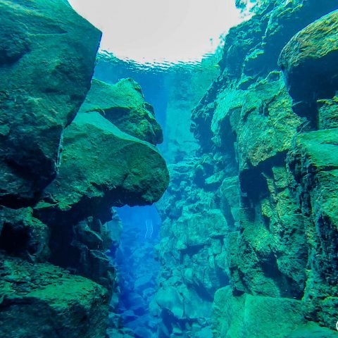 Rocks In The Silfra Fissure With Scuba And Snorkel Entrance Ladder In The Distance With Watermark