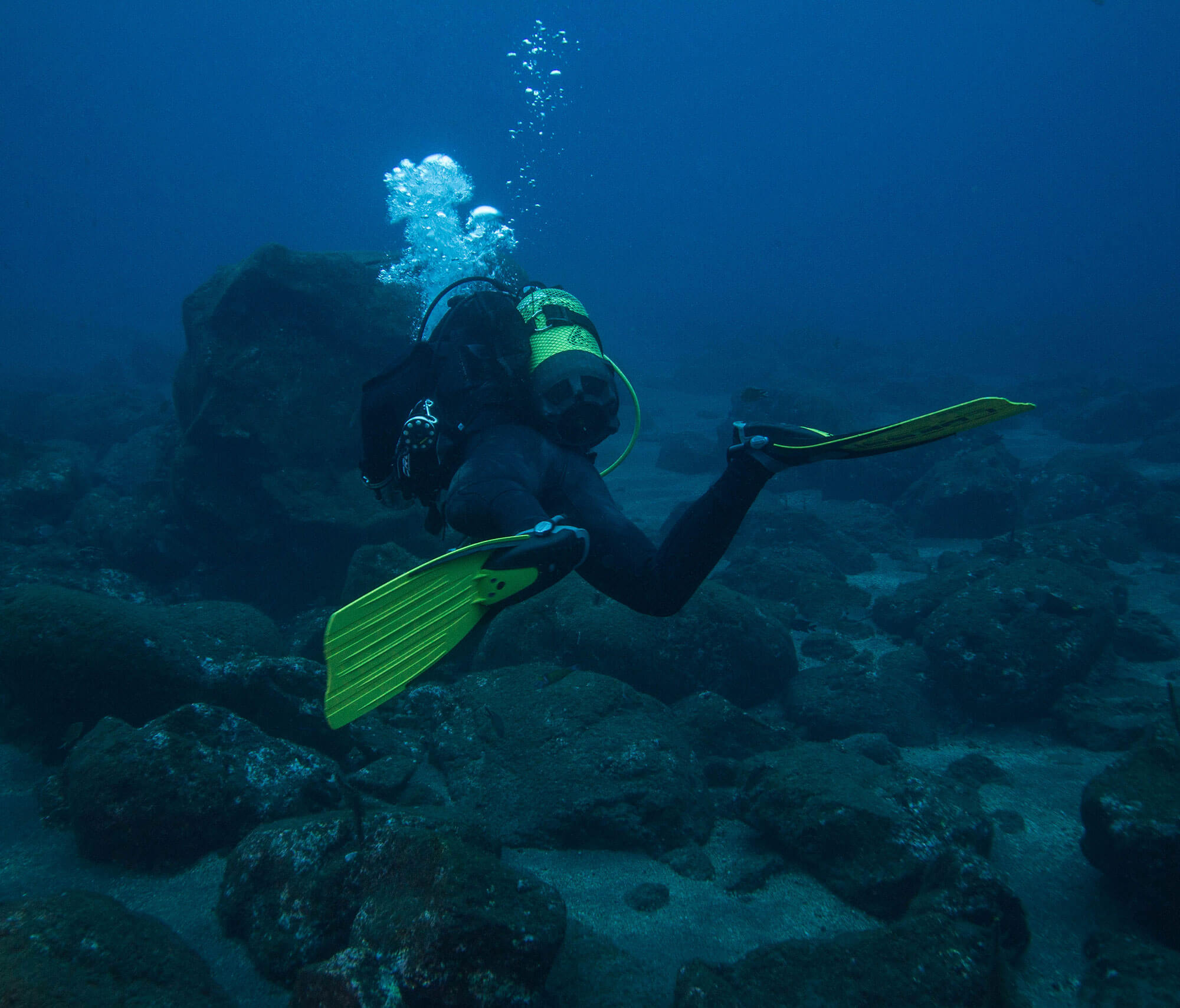 Our Divemaster Swimming at a local site In The Azores