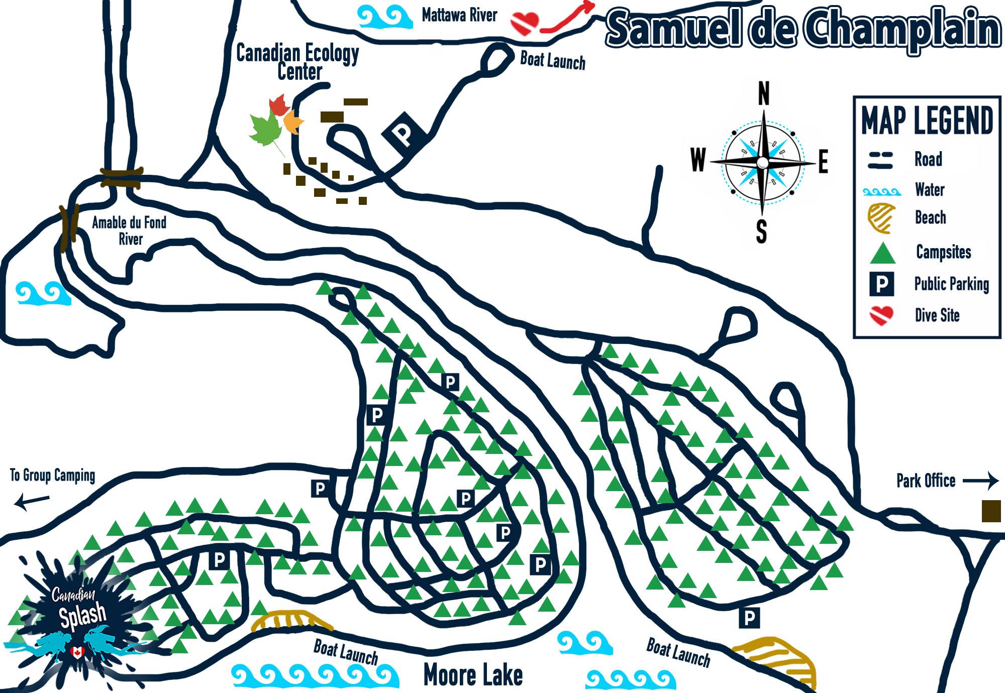 Samuel De Champlain Provincial Park Scuba Diving Map, Ontario Parks, Canadian Splash