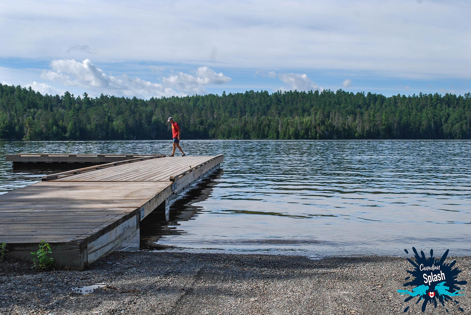 Scuba Dad Checking Out The Water Of Cassel Lake Before Diving, Temagami, Scuba Diving Ontario, Canada