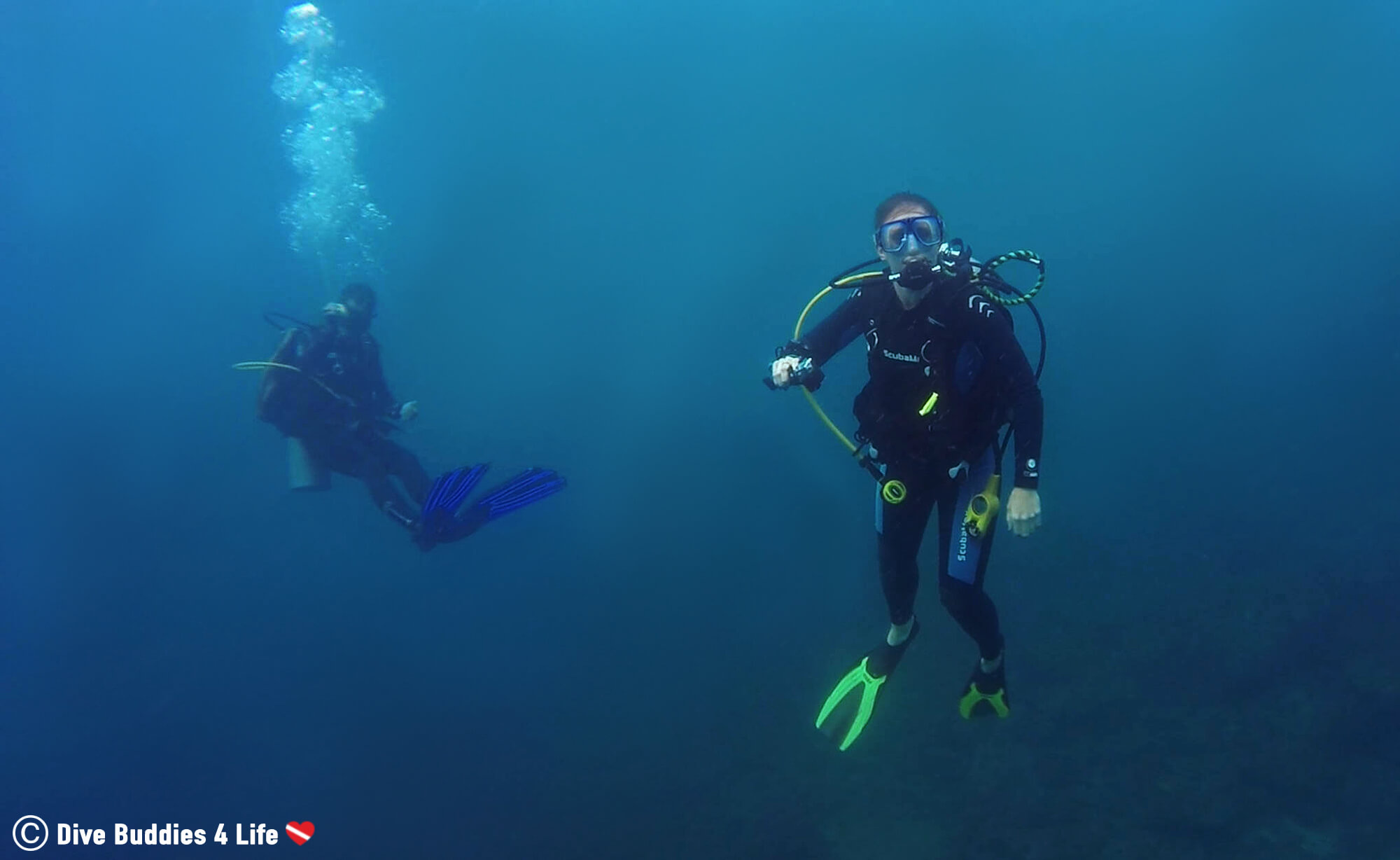 Scuba Diver Ali At Her Safety Stop In The Catalina Islands, Costa Rica, Central America