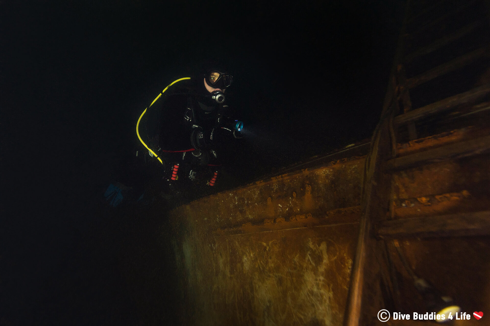 Scuba Diver Joey Exploring The Dark Underwater World Of The German Gas O Meter, Europe