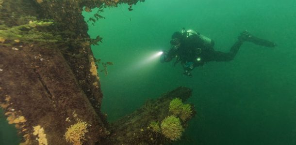 Scuba Diver Joey Lighting Up The Rothesay Shipwreck In Brockville, Ontario, Scuba Canada