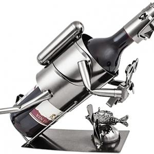 Scuba Diver Metal Wine Holder