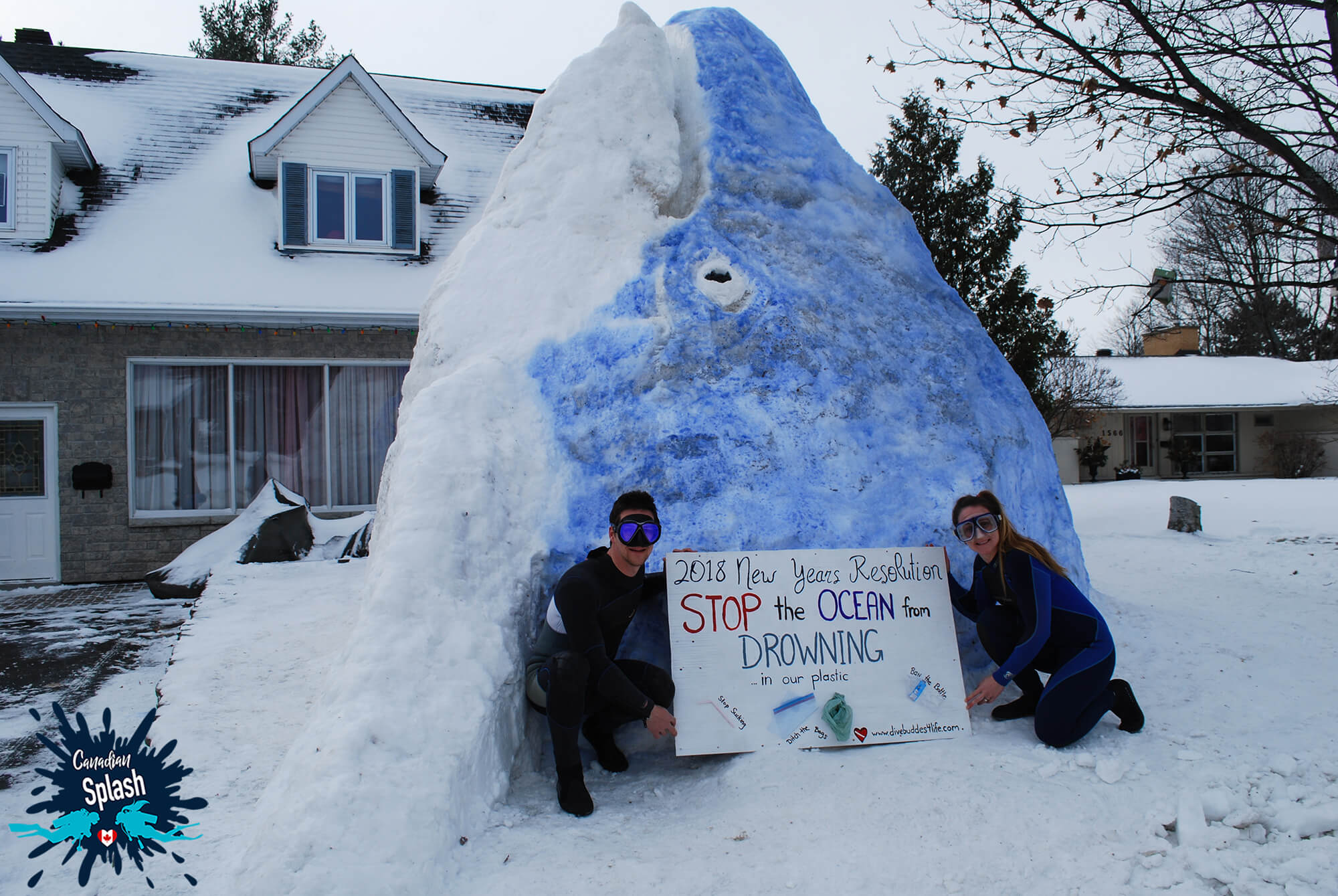 Scuba Divers Joey And Ali In Front Of A Snow Whale Showcasing The Negative Effects Of Plastic On The Aquatic Environment, Canada