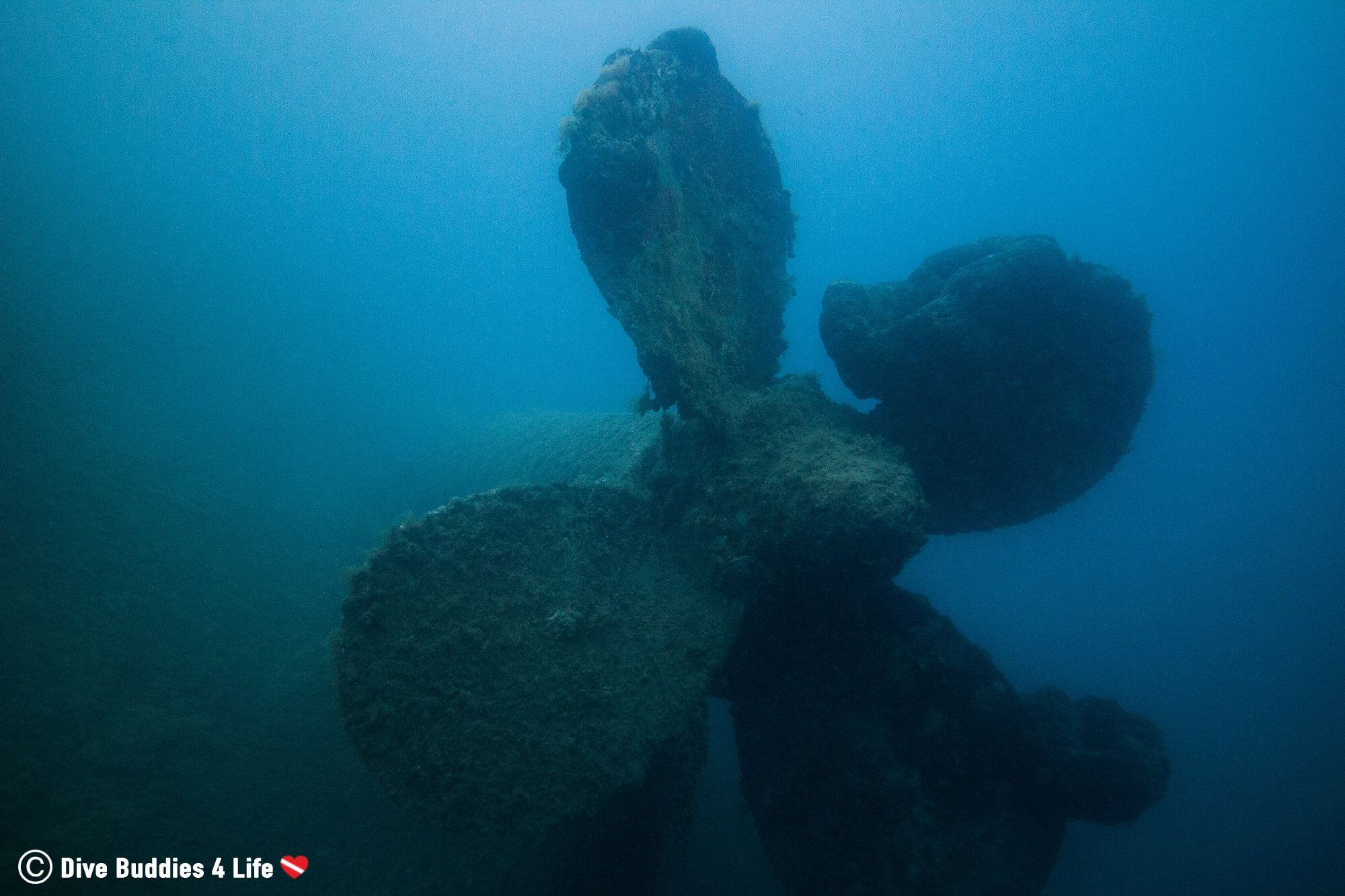 Scuba Diving A Large Shipwreck Propeller In Albania, Eastern Europe