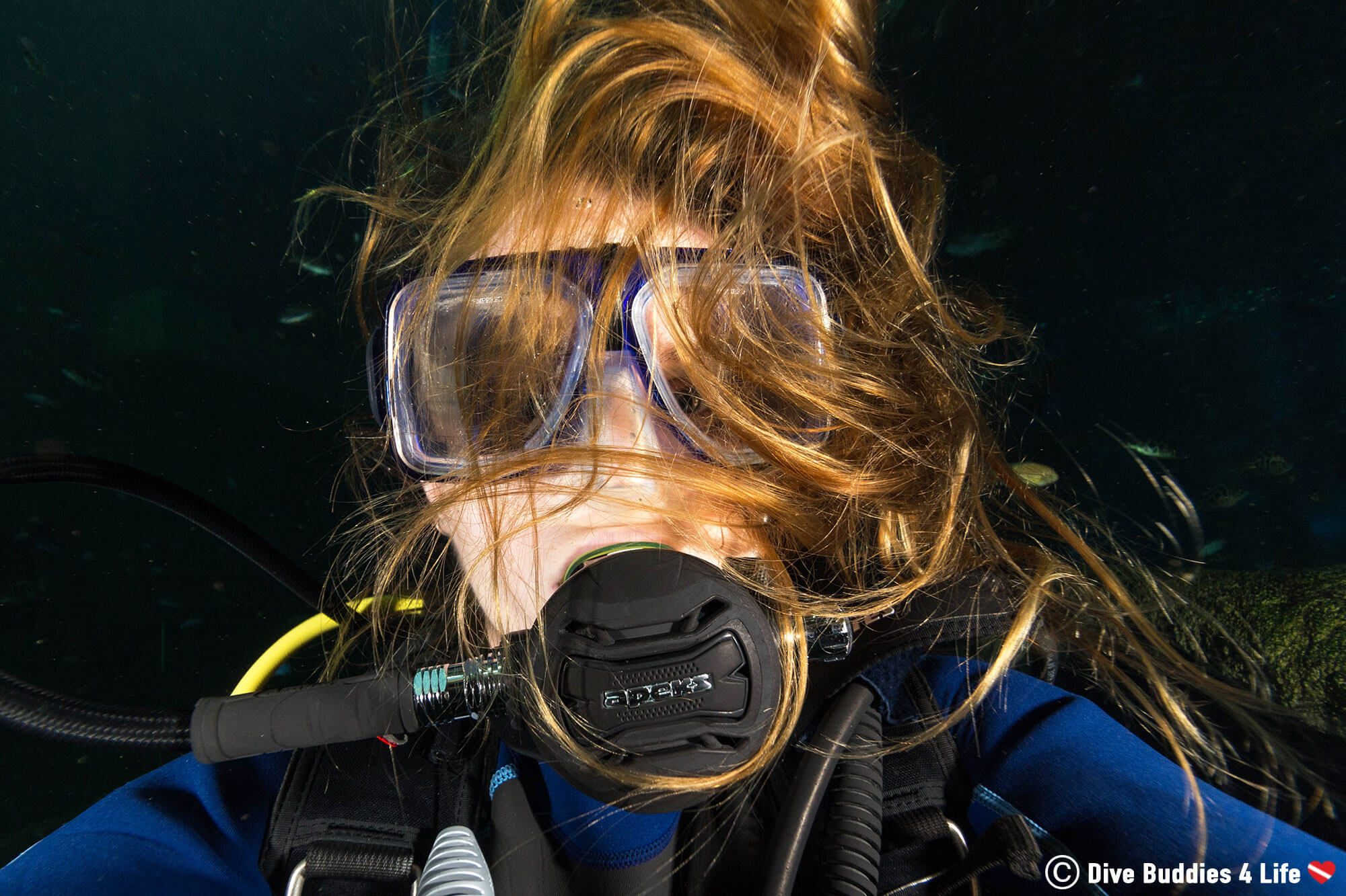 Scuba Diving Ali Not Dealing With Out Of Control Dive Hair Underwater