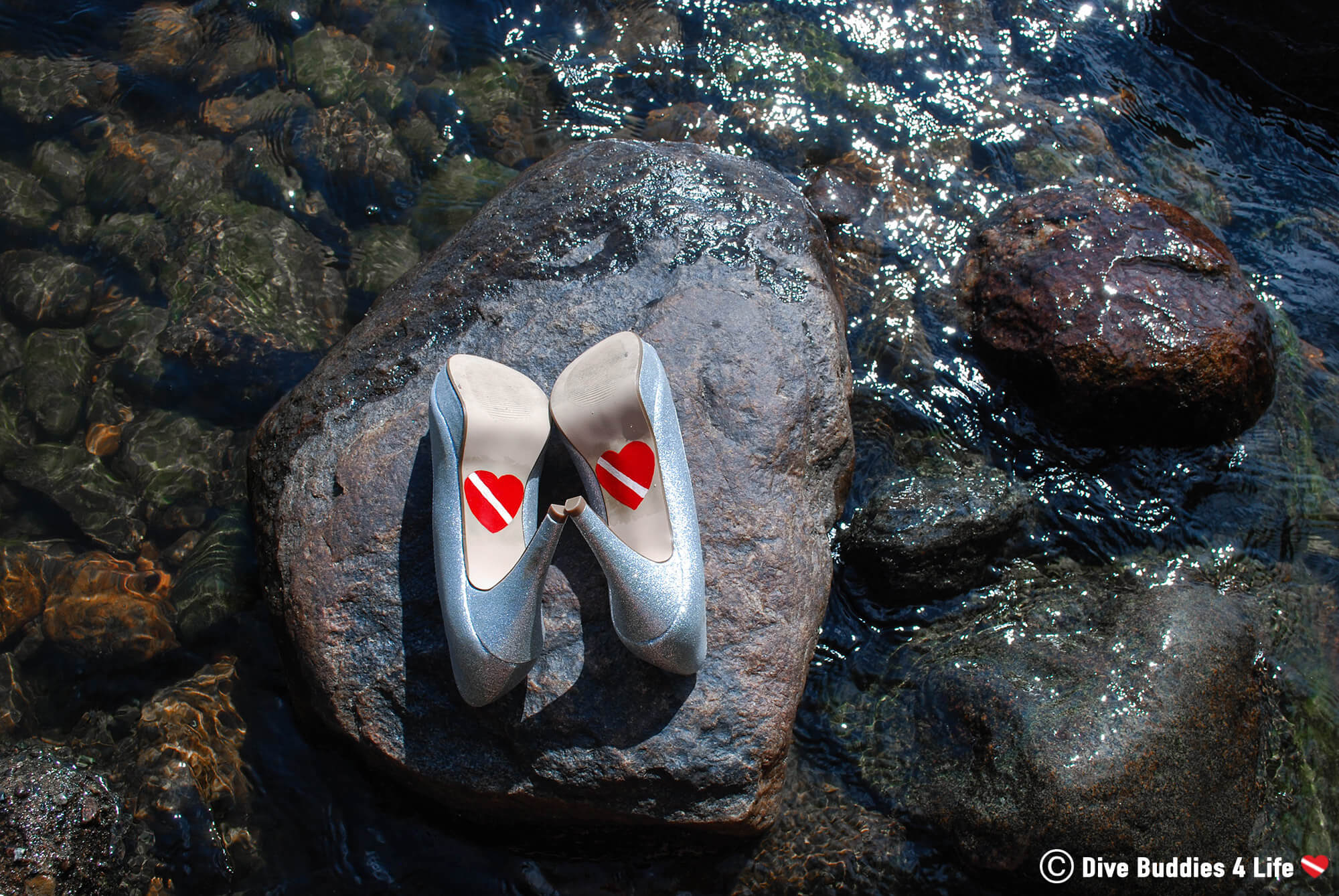 Scuba Diving Hearts Painted On Ali's Dive Themed Wedding Shoes