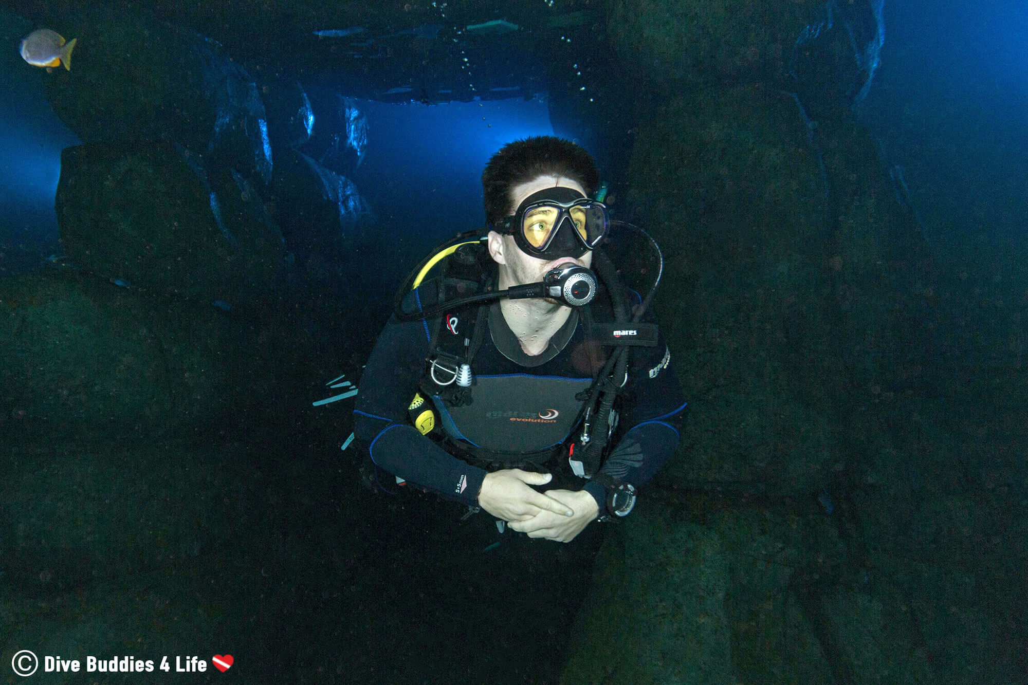 Scuba Diving Joey Swimming In The Underwater Mine Tunnel In TODI Dive Facility, Belgium