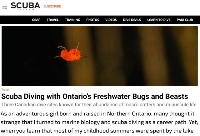 Scuba Diving Ontario's Freshwater Bugs And Beasts Online Publication