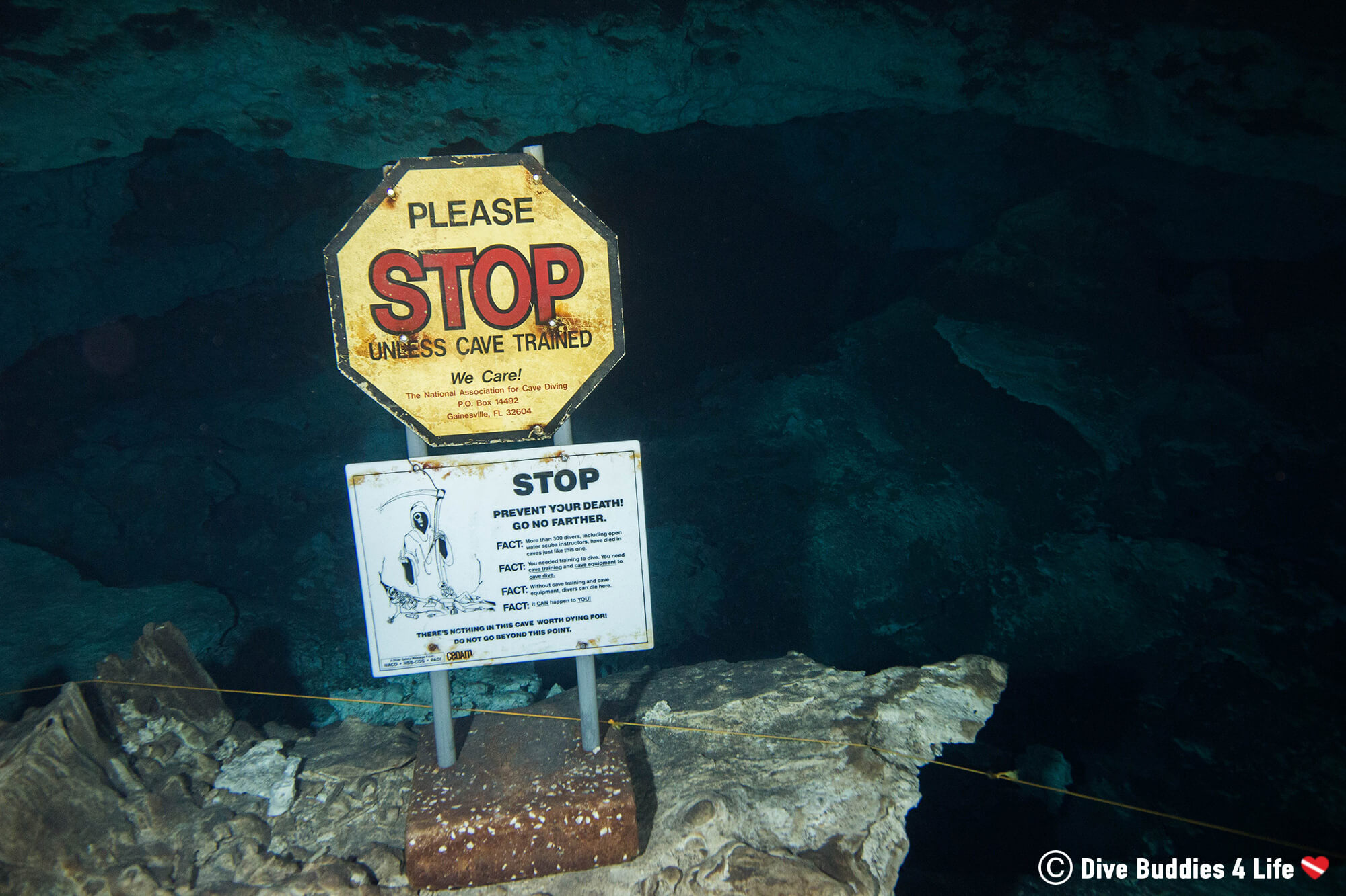 Scuba Diving Stop Sign Preventing Non Cave Divers From Going Further Into The Mexican Cenotes Of Tulum
