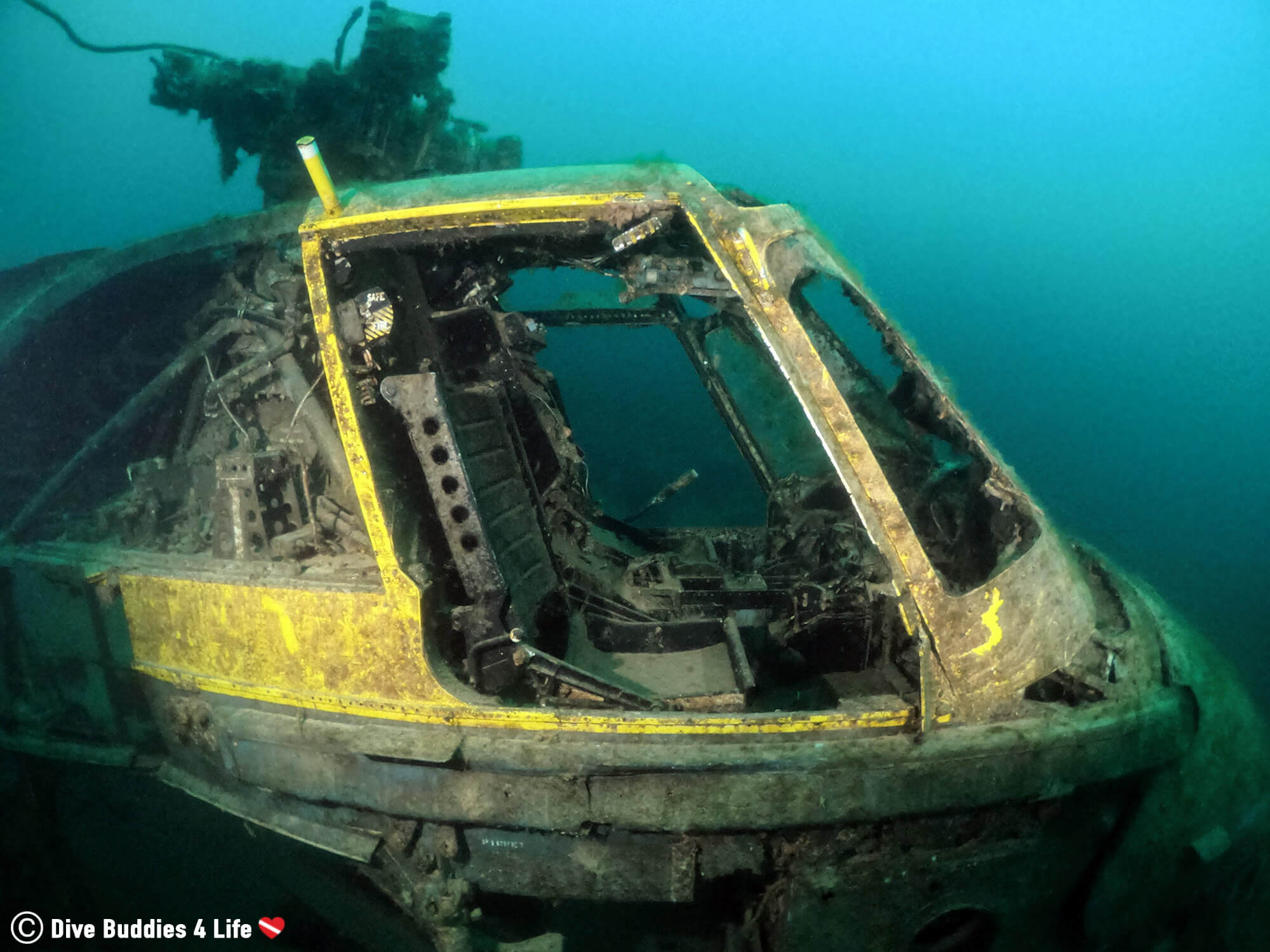 Scuba Diving The Inside Of A Sunken Helicopter In Chepstow, Wales, UK