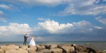 Scuba Joey And Ali Enjoying A Wedding Shoot On Rocks In Lake Ontario