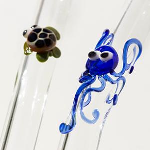 Sea Critter Glass Drinking Straws