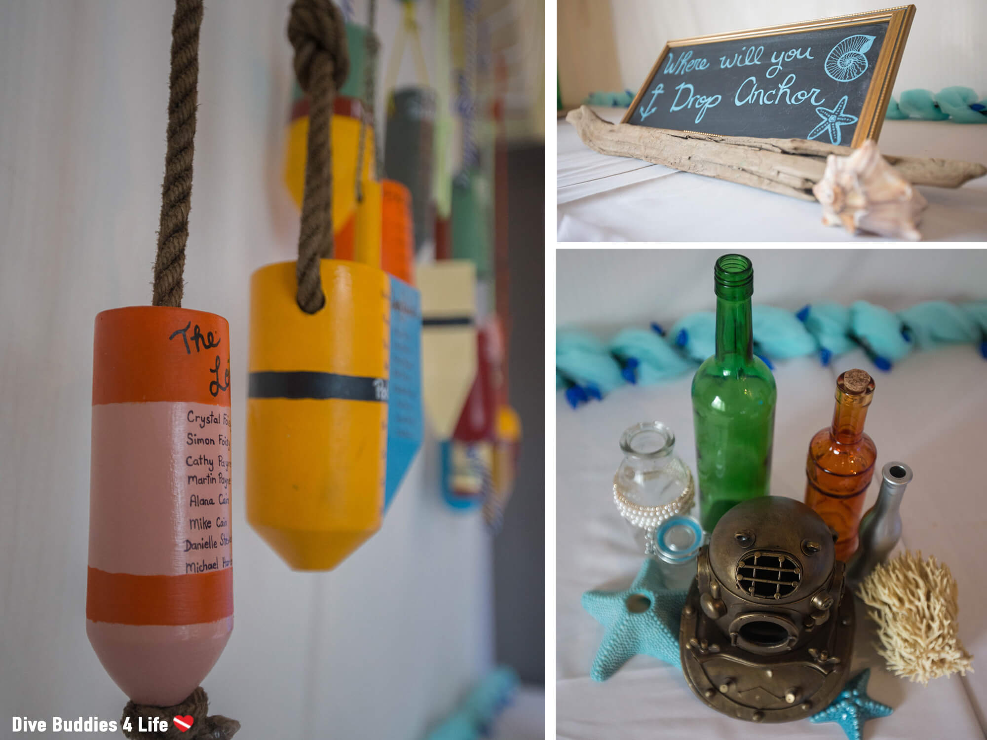 Seating Buoy Chart, Decor And Dive Signs At An Ocean Themed Wedding