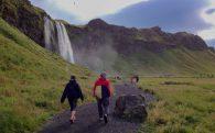 Seljalandsfoss Waterfall and Mom and Dad Walking
