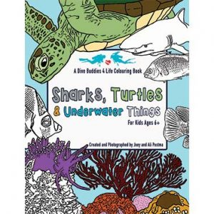 Sharks, Turtle And Underwater Things Colouring Book