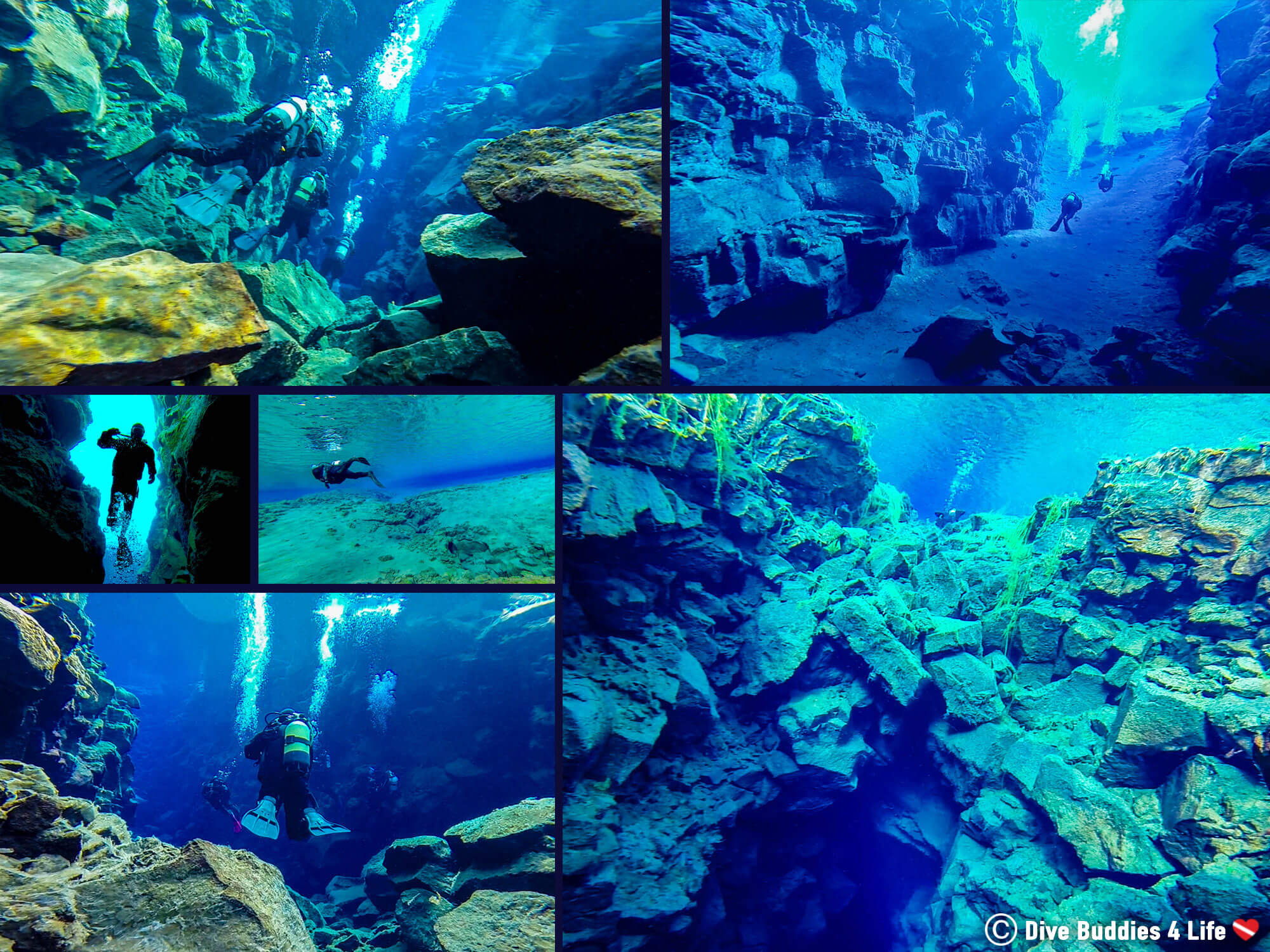 Silfra Dive Mosaic From Different Sections Of The Clearest Dive In The World