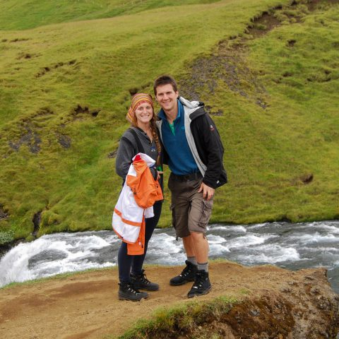 Skogafoss Waterfall with Ali and Joey at the Top