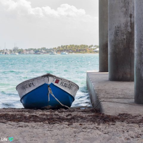 Small Boat On The Beach At Blue Heron Bridge, West Palm Beach