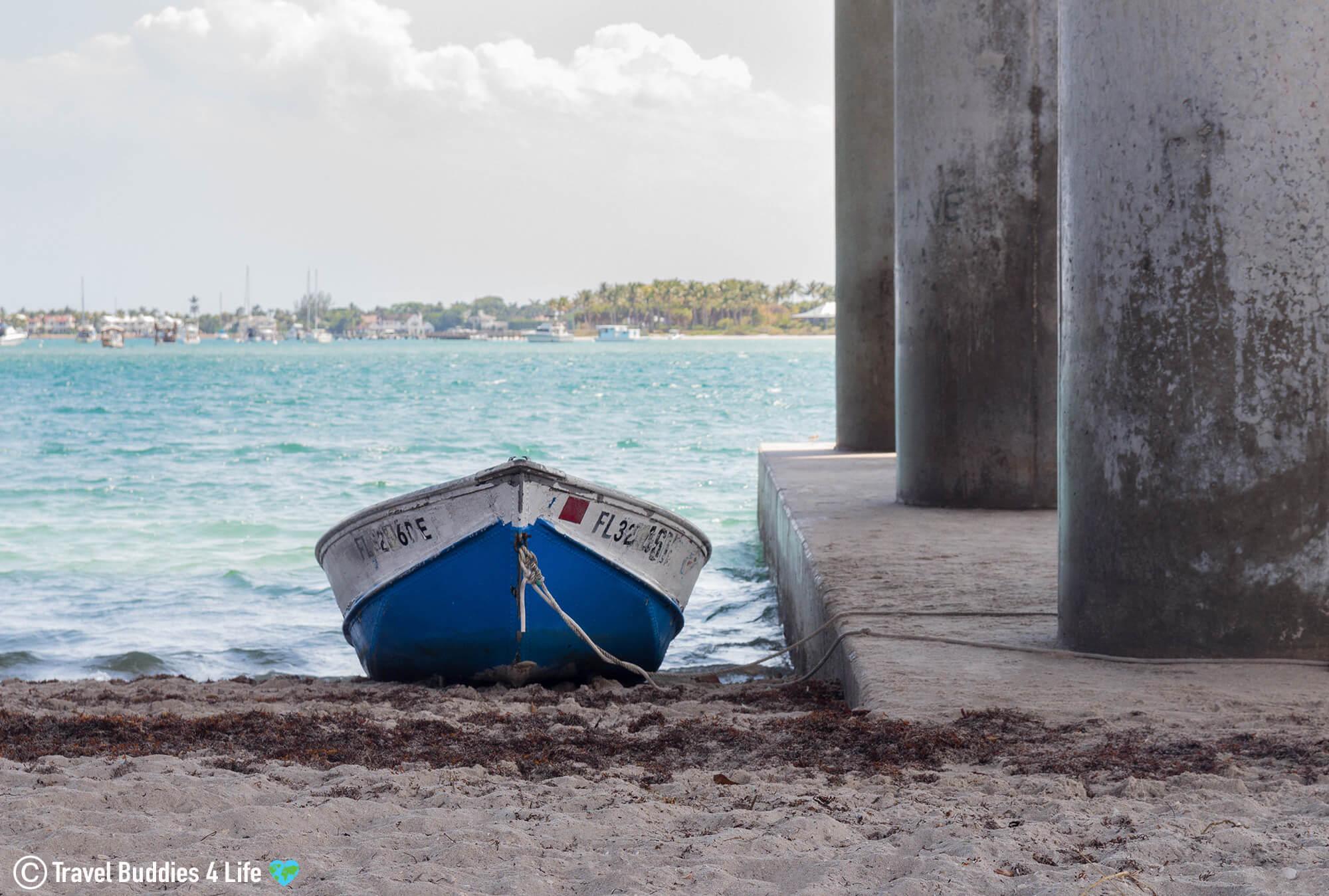 Small Boat On The Beach At Blue Heron Bridge, West Palm Beach