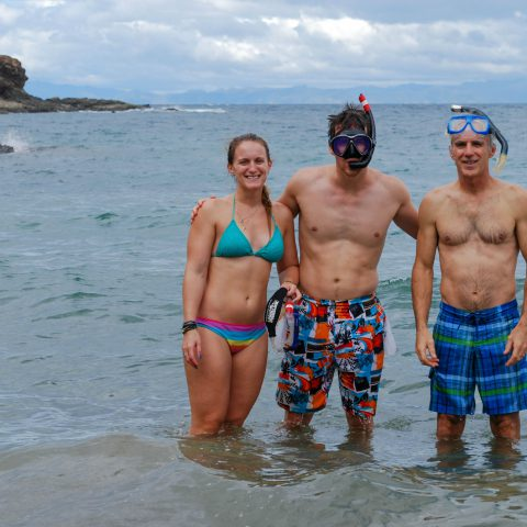 Dad, Joey and Ali Take a Snorkeling Group Picture