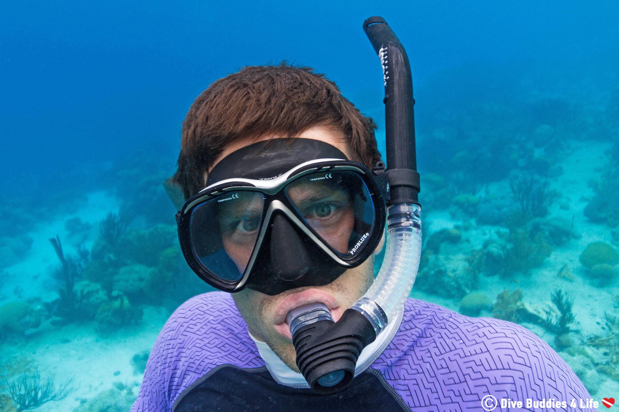 Snorkeling Joey In The Clear Water Of Bonaire, Dutch Caribbean
