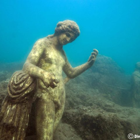 Some Of The Ancient Roman Statutes Underwater At The Baiae Scuba Diving Site In Naples, Italy, Europe