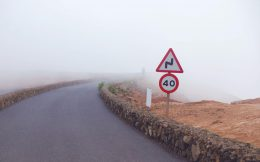 Speed Sign in Iceland Fog
