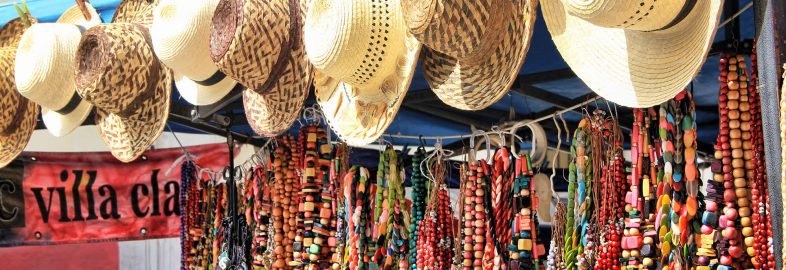 Straw Hats and Necklaces for Sale in Cuba