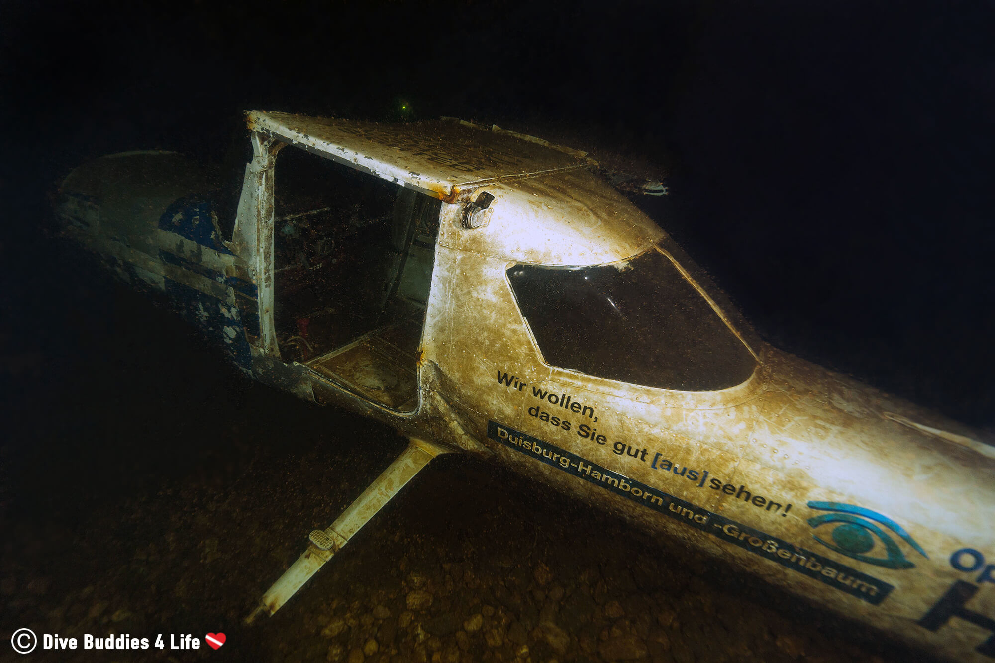 Sunken Airplane In The Dark Bottom Of The German Gas O Meter Scuba Diving Facility, Europe