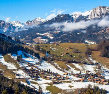 Switzerland - Alps with Village Below