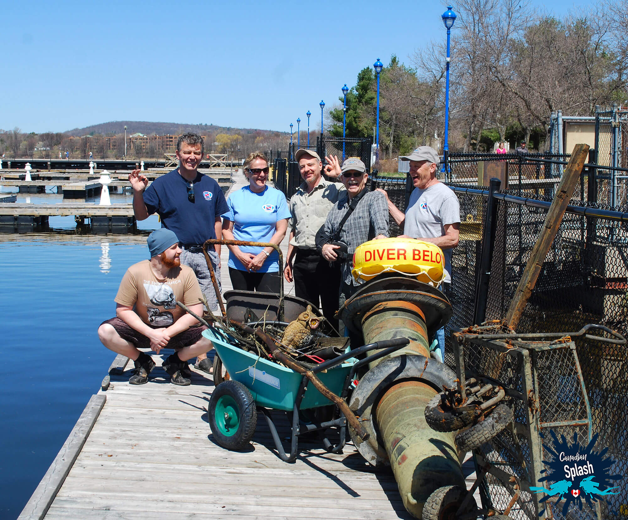 Team Photo Of The Scuba Diving Clean Up Crew At The North Bay Harbour, Ontario, Scuba Diving Canada