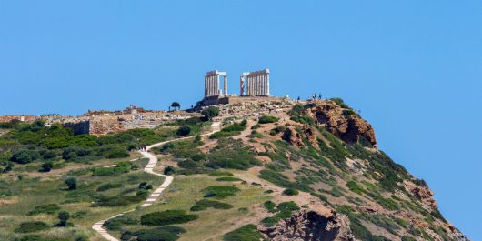 The Poseidon Temple on the Cliff in Greece, Europe