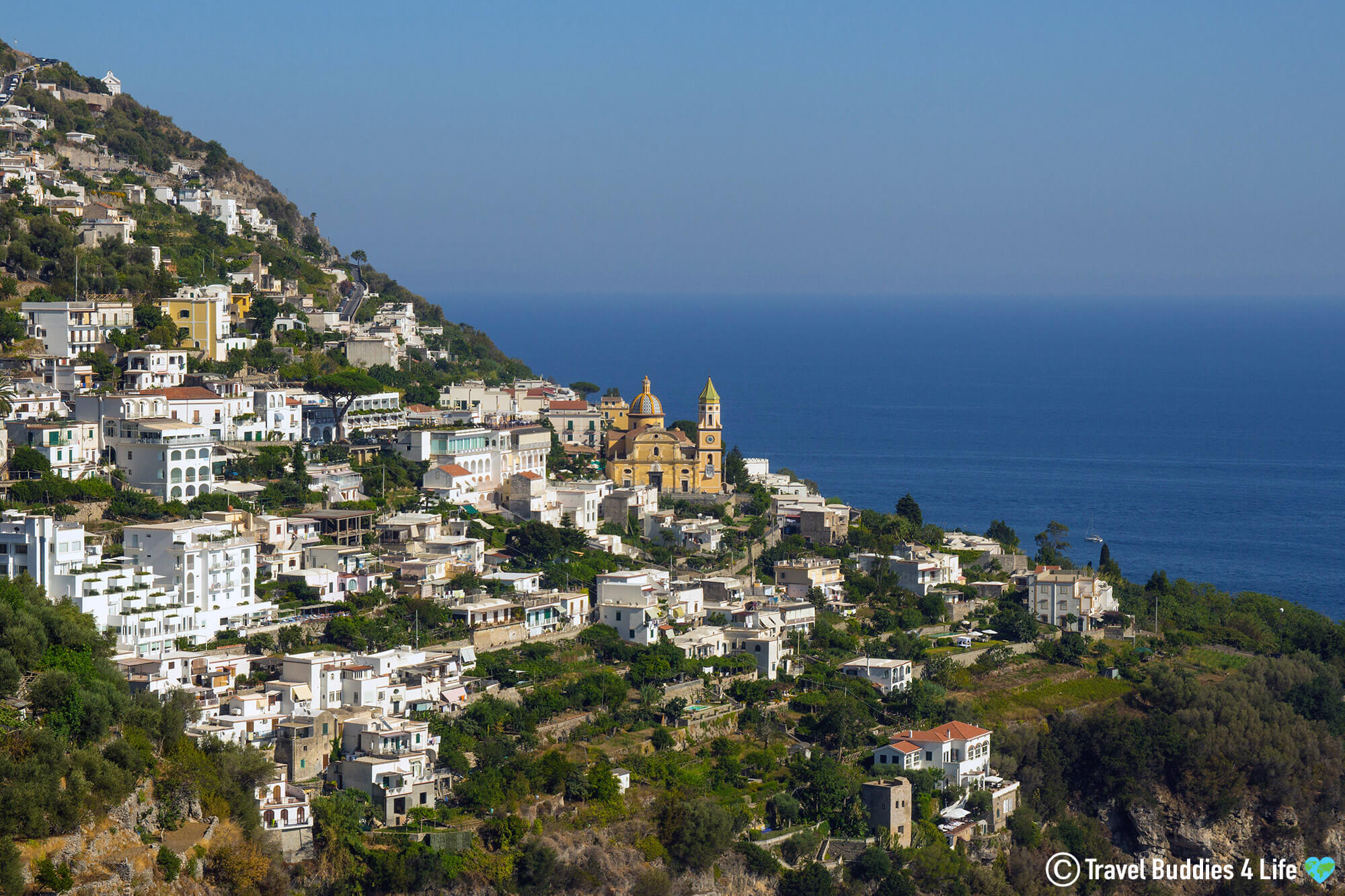 The Beautiful House Covered Hills Of The Amalfi Coast In Southern Italy, Europe