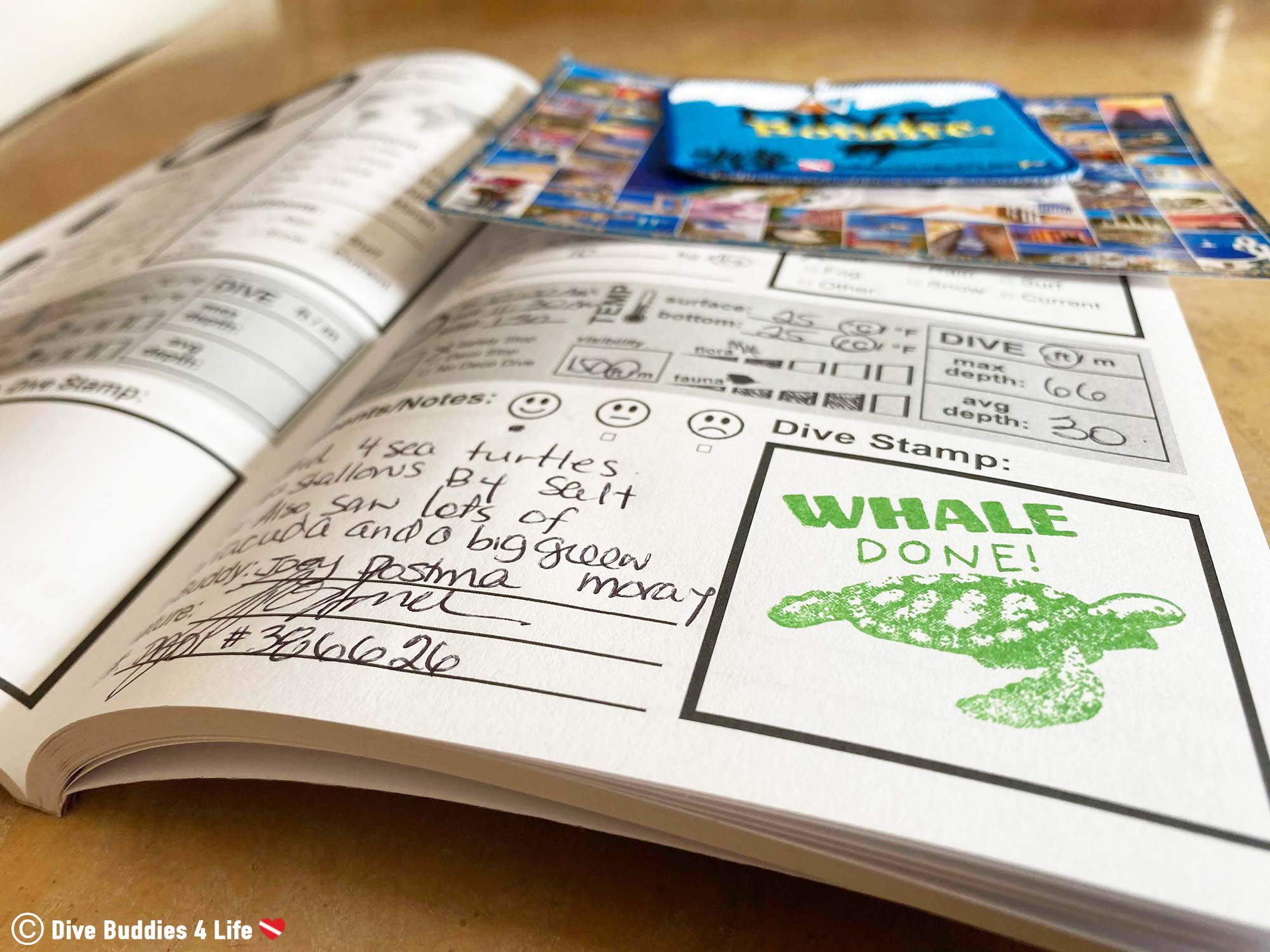 The Dive Buddies Dive Log Filled Out With Scuba Diving Memories From Trips Abroad