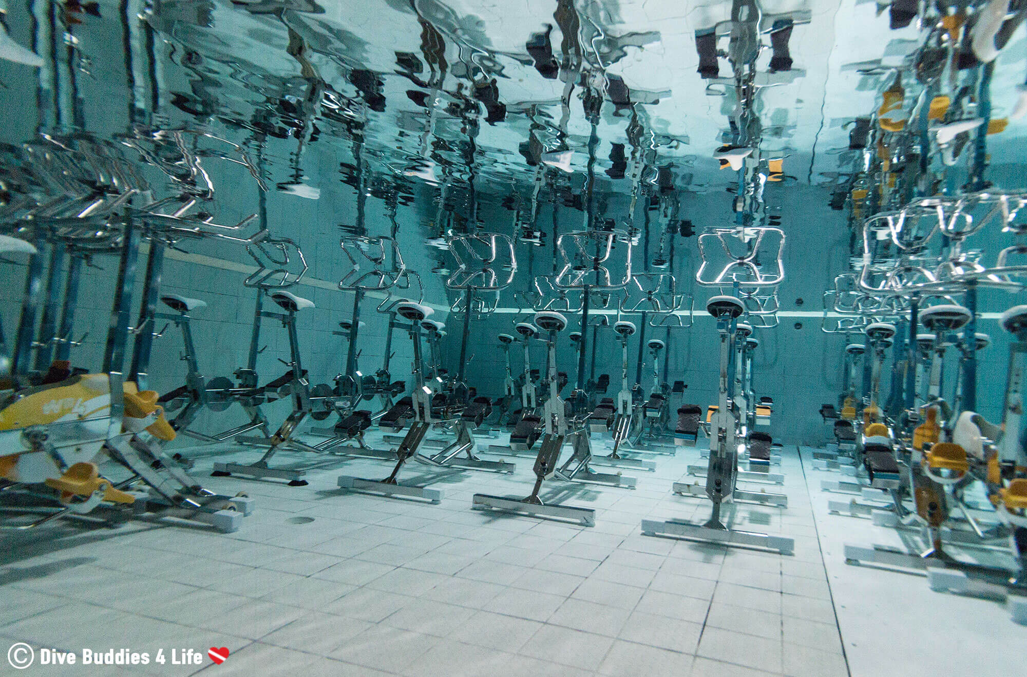 The Exercise Bikes In The Nemo 33 Indoor Pool In Brussels, Belgium