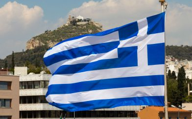 The Flag with the Acropolis in the Background