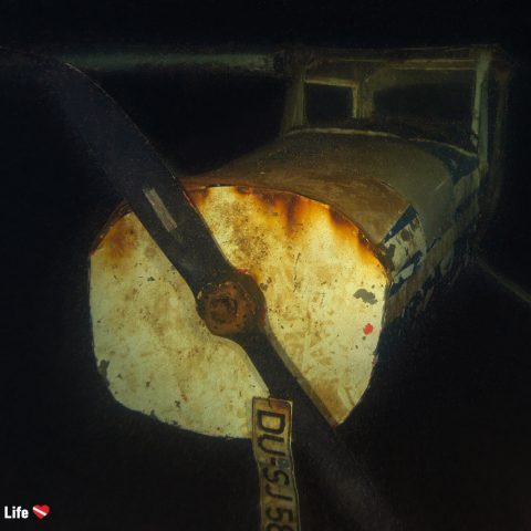 The Front End Of The Sunken Bi Plane In The Gas O Meter, Germany